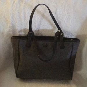 Tory Burch Small Grey Wool Bucket Tote
